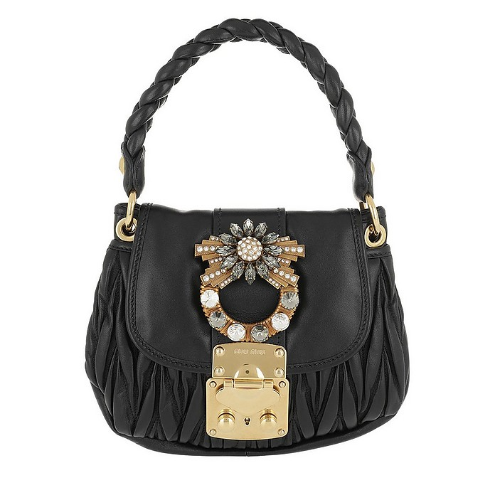 bf5d6717a79b Matelassé Shoulder Bag Jeweled Buckle Leather Black - Miu Miu