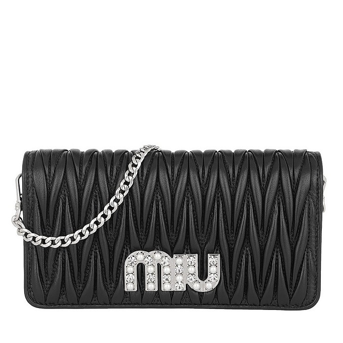 Black Quilted Logo Pearl Bag - Miu Miu / ミュウミュウ