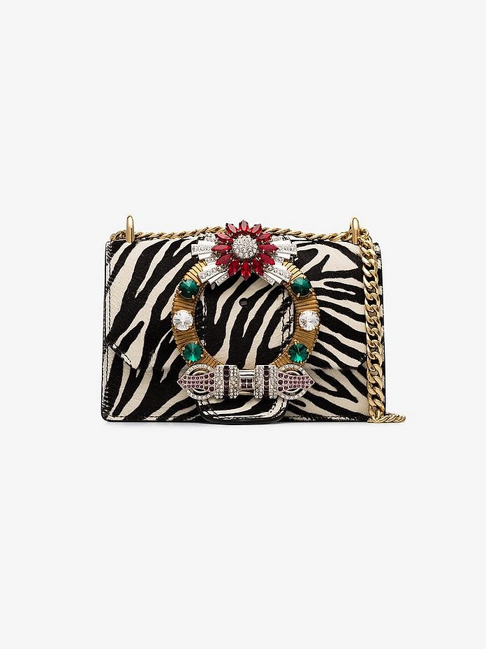 White zebra embellished leather shoulder bag - Miu Miu