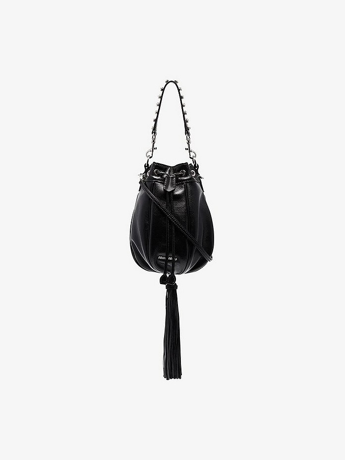 Black crystal embellished bucket bag - Miu Miu
