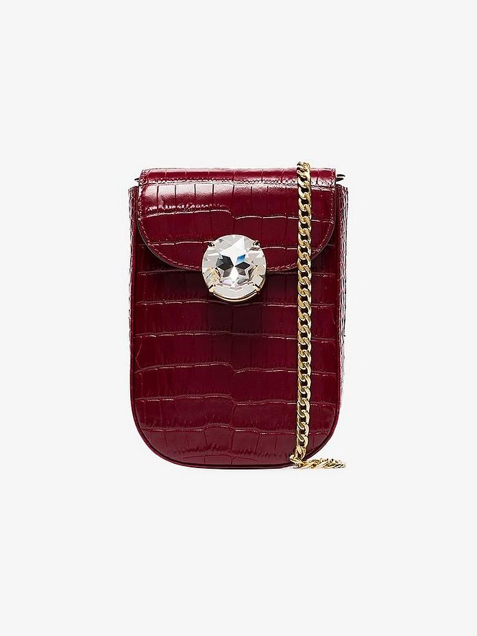Miu Miu Accessories Red Bandoliera crystal-embellished bag
