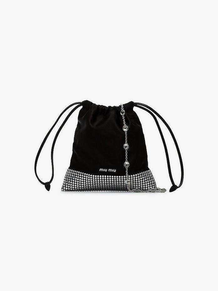 Black Ayers crystal studded shoulder bag - Miu Miu