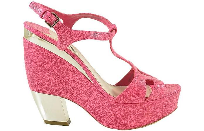 Pink Lizard Embossed Leather Wedge Sandals - Miu Miu