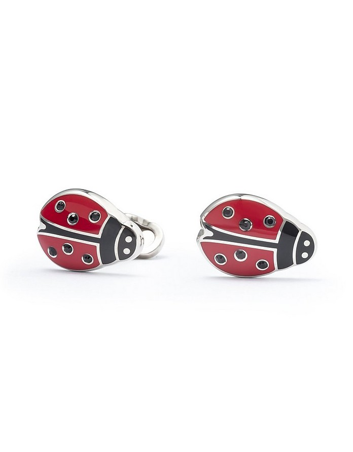 Red and Black Enamel and Brass Men's LadyBug Cufflinks - Mon Art