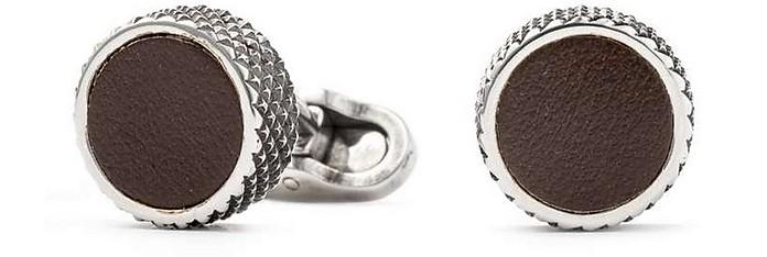 Leather and Brass Men's Round Cufflinks - Mon Art