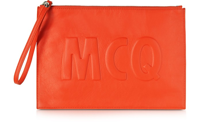 McQ Script Coral Red Leather Clutch  - McQ Alexander McQueen