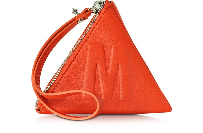 McQ Script Coral Red Leather Pyramid Clutch - McQ Alexander McQueen