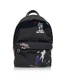 Black Embroidered Nylon Backpack - Alexander McQueen