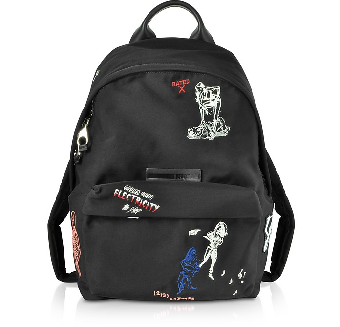 Black Embroidered Nylon Backpack - McQ Alexander McQueen