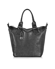 Black Bubble Leather Stepney Tote