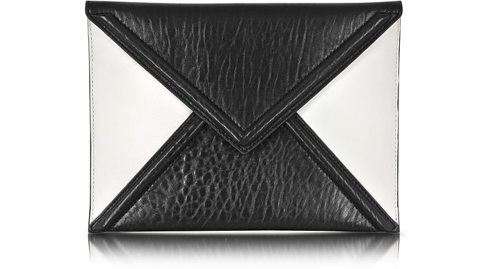 Black and White Mix Lether Envelope Clutch - Alexander McQueen