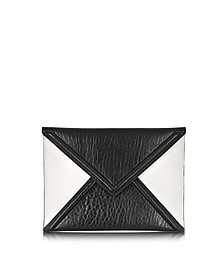 Black and White Mix Lether Envelope Clutch
