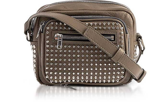 Loveless Dark Khaki Smooth Leather Crossbody Camera Bag w/Studs - McQ Alexander McQueen