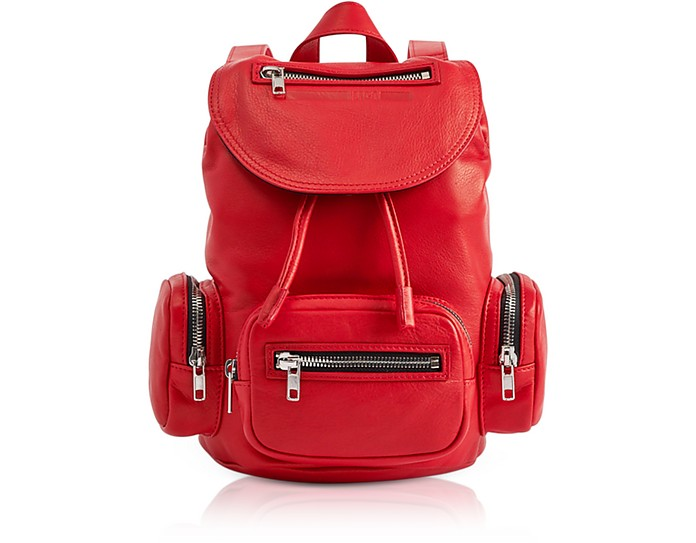 Loveless Riot Red Leather Mini Drawstring Convertible Backpack - McQ Alexander McQueen