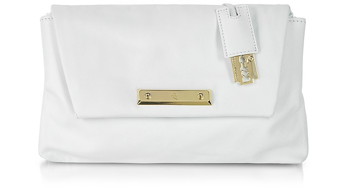 Albion - White Grainy Leather Envelope Clutch - McQ Alexander McQueen