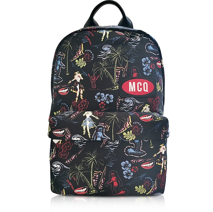 Darkest Black Printed Nylon Classic Backpack - McQ Alexander McQueen
