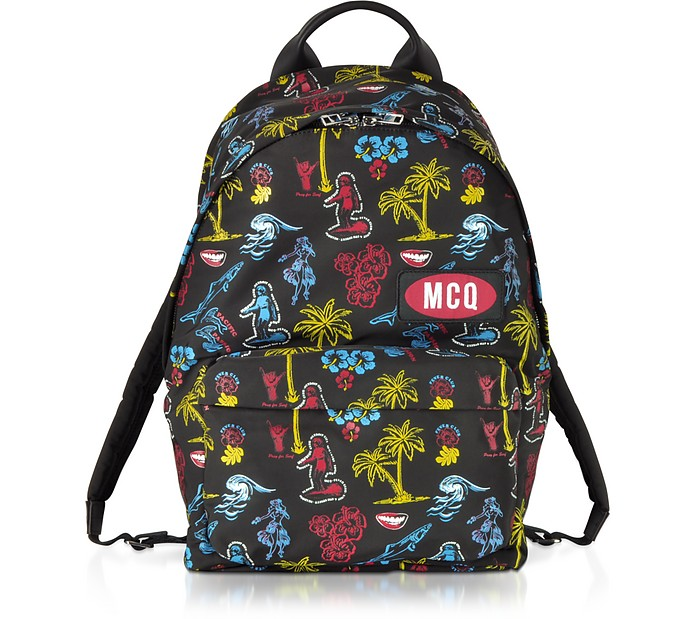 Darkest Black Printed Nylon Classic Backpack - McQ Alexander McQueen