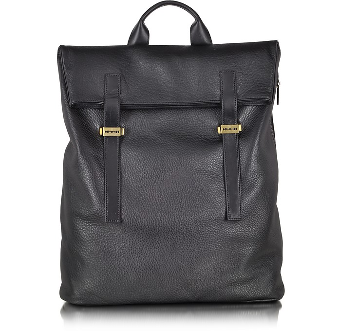 Black Mix Grainy Leather Double Strap Backpack - McQ Alexander McQueen