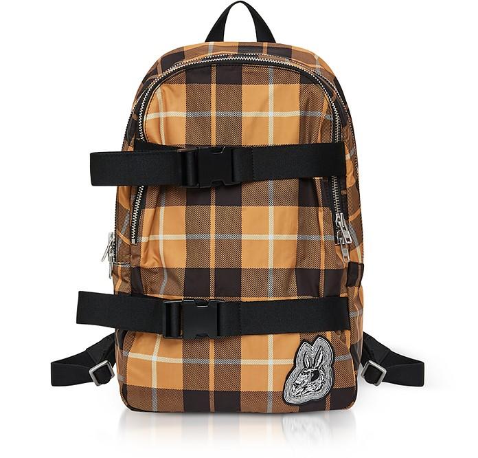 Bunny Skater Yellow Tartan Nylon Clip Backpack - McQ Alexander McQueen
