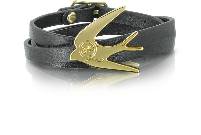 Swallow Triple Wrap Leather Bracelet - McQ Alexander McQueen