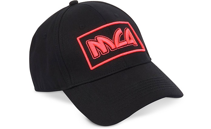 McQ Alexander McQueen black   pink Metal Logo Cotton Baseball Cap at ... c02f57af57a6