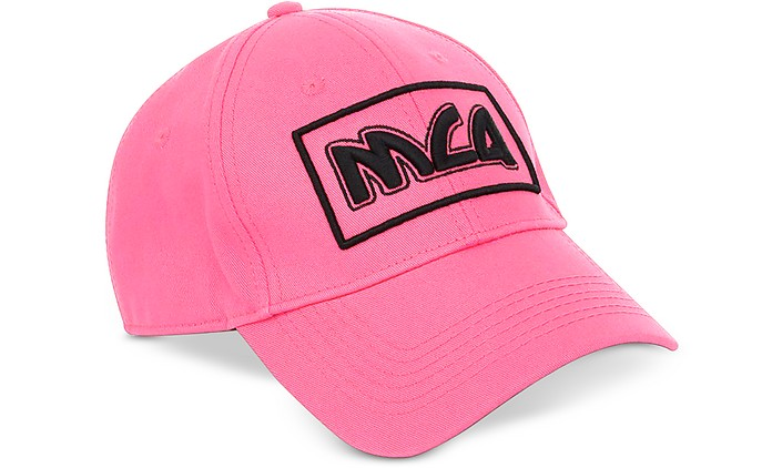 Neon Pink Signature Cotton Baseball Cap - McQ by Alexander McQueen