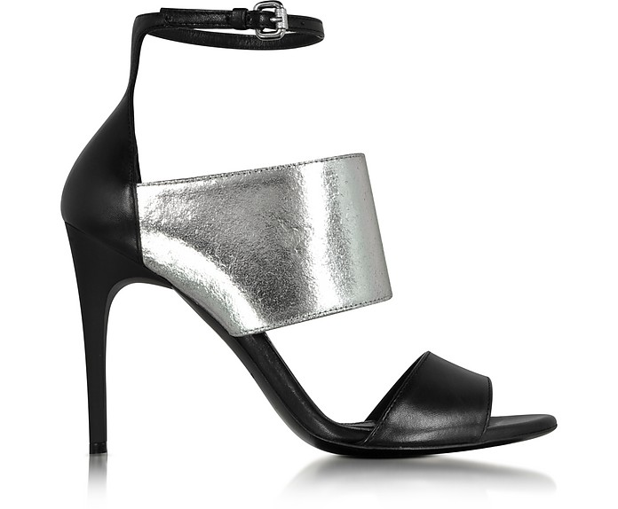 Black and Silver Lilly Ankle Strap Sandal - McQ Alexander McQueen