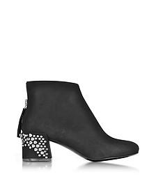 Black Suede Pembury Boots w/Studded Heel - McQ Alexander McQueen