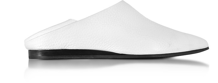 Liberty Fold Optic White Hammered Leather Slipper - McQ Alexander McQueen