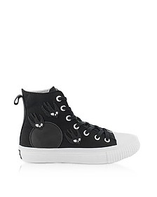 Black Canvas High Top Sneakers w/Swallow Patches - McQ Alexander McQueen