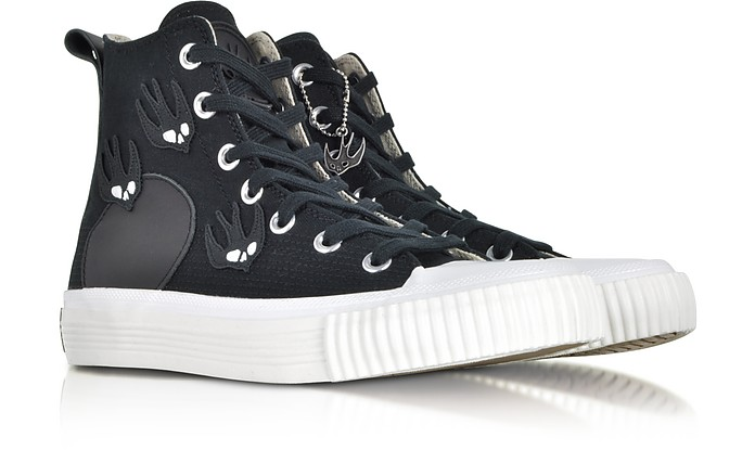 factory price 7ce69 26013 McQ Alexander McQueen Black Canvas High Top Sneakers w/Swallow Patches