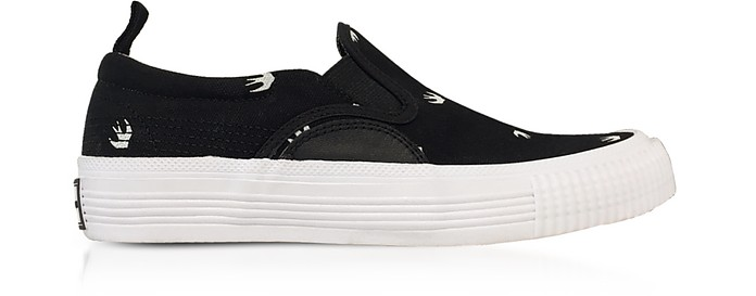 Black Canvas Swallow Slip on Sneakers - McQ Alexander McQueen