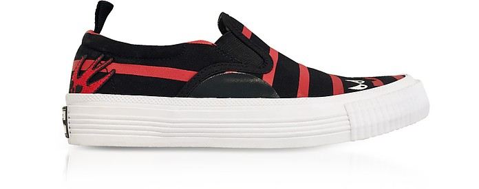 BLACK AND RED CANVAS MONSTER SLIP ON SNEAKERS