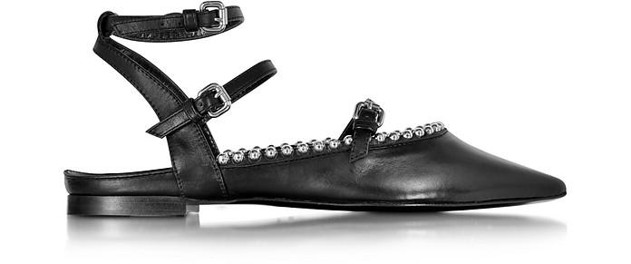 Haggerton Black Leather 3 Strap Flat - McQ Alexander McQueen