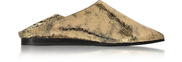 Liberty Fold Metallic Foil Crackle Leather Slipper - McQ Alexander McQueen