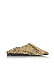 Liberty Fold Metallic Foil Crackle Leather Slipper - McQ Alexander McQueen