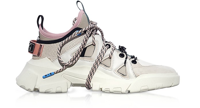 Orbyt Mid Off White Leather and Fabric  Women's Sneakers - McQ Alexander McQueen