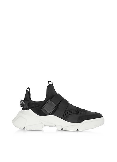 Orbyt Clip Black Leather and Fabric Women's Sneakers - McQ Alexander McQueen