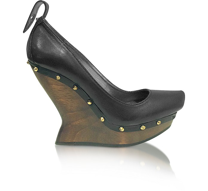 McQ - Black Leather Platform Wedge Shoe - McQ Alexander McQueen