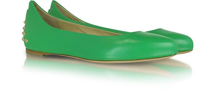 Goldtone Stud Green Leather Ballerina - McQ Alexander McQueen