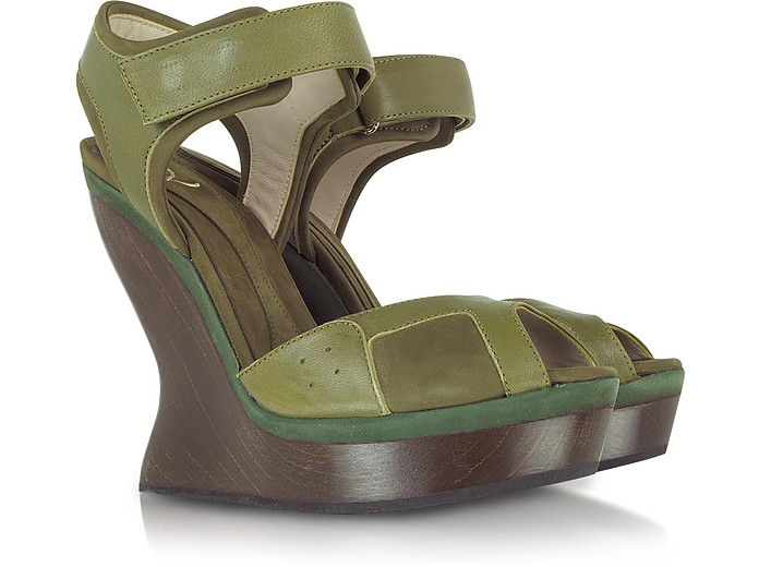 Nubuck and Leather Platform Wedge Sandal - McQ Alexander McQueen
