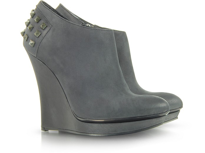 Rusty Slim Wedge Leather Bootie - Alexander McQueen 亚历山大麦昆