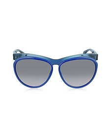 AMQ 4248/S Two-Tone Blue Brow Detail Cat Eye Sunglasses