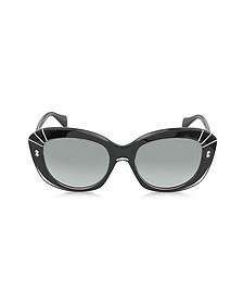 AMQ4214/S Black Acetate Cat-Eye Sunglasses
