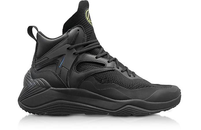 Sodai Black Calf Leather and Fabric Men's Sneakers - McQ Alexander McQueen