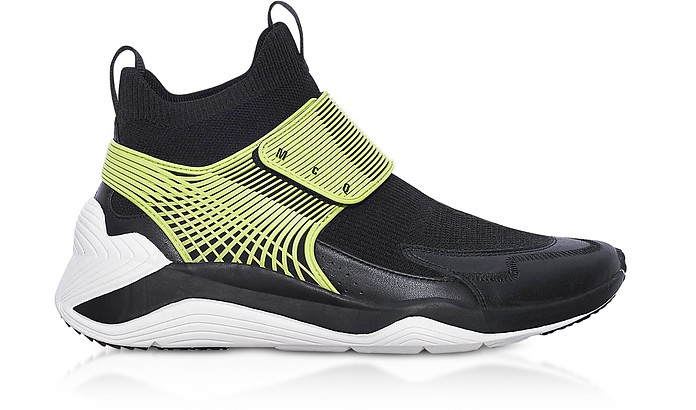Hikaru 3.0 Black Lime Calf Leather and Fabric Men's Sneakers - McQ Alexander McQueen