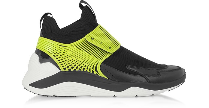 Hikaru 3.0 Black Lime Calf Leather and Fabric Men's Sneakers - McQ by Alexander McQueen