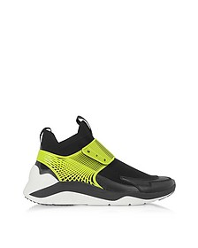 Hikaru Black Lime Calf Leather and Fabric Men's Sneakers
