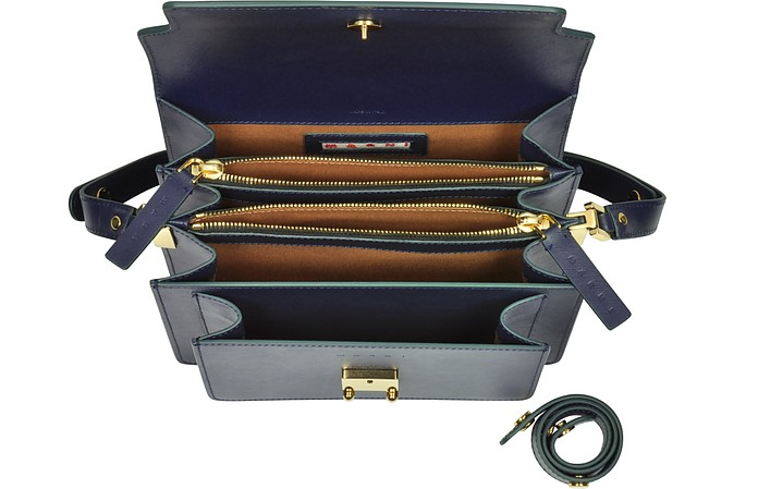 Trunk Bag in Pelle Saffiano Blu Notte Marni TIeyHrI