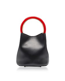 Black Leather Pannier Bucket Bag - Marni